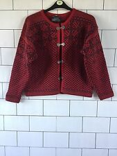 WOMENS VINTAGE RETRO AZTEC WINTER CLASP PURE WOOL NORWEGIAN JUMPER CARDIGAN #17