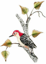 Red-Bellied Woodpecker on Birch Metal Bird Wall Art Sculpture by Bovano #W4151