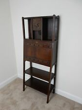 Antique Mission Arts and Craft Slant front desk with shelves and clock RARE!!!