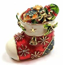 Christmas Stocking Trinket Box Hand Painted Stocking Jewelry box with Crystals