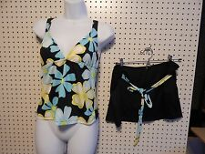 Womens Impact tankini swimsuit - size 12 - black blue yellow white