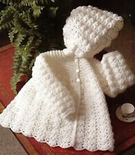 """P685 Vintage Baby Girl Crochet Pattern 4 ply Hooded Jacket 16-20"""" 0-18 months"""