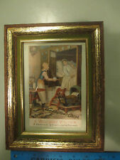 c1890s Framed Van Houten's Cocoa Advertising Trade Card sign Hindeloopen 4x6""