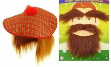 2 x SCOTTISH SCOTSMAN GINGER BEARD TASH MOUSTACHE EYEBROWS +HAT WITH HAIR