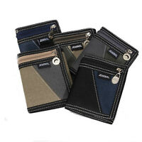 Men Trifold Short Wallet Boy Canvas Sport Vertical Patchwork Design Purse Male
