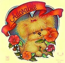 Vintage 70s Adorable Dog Iron-On Transfer Flowers Cute Rare!