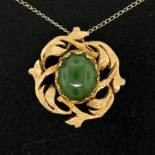 Vintage 14k Yellow Gold Cabochon Olive Green Jade Textured Leaf Pendant w/ Chain