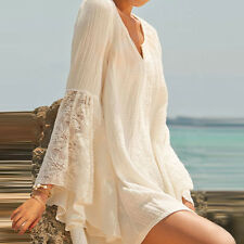 1Pc Women V Neck Loose Cotton Mini Shirt Dress Long Sleeve Casual Blouse Tops