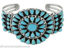Genuine Blue Kingman Turquoise 925 Sterling Silver Handcrafted Cuff Bracelet