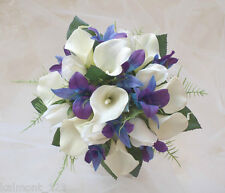 "Blue Purple orchids, calla lily & rose ""real touch""  Bridal Bouquet flower set"