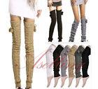 Crochet Knit Thick Leg Warmer over Knee High Hosiery Stocking Boot Socks S430
