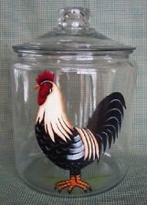 HAND PAINTED  ROOSTER COOKIE JAR/GLASS/NEW BY MB
