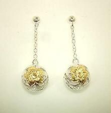9mm Hawaiian 2-T Silver 14k Pierced Plumeria Dangling Round Ball Post Earrings