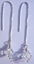 925 Silver CLEAR CRYSTAL Pull Through Threader Earrings with SWAROVSKI ELEMENTS