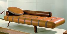 "83"" Long sofa chaise brown soft Italian leather polished exotic wood hand made"