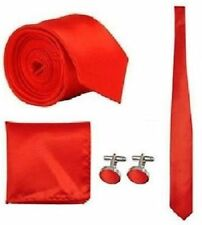 New Skinny Mens wedding event prom party necktie tie+Handkerchief+cufflinks set
