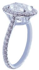 18k White Gold Oval Cut Diamond Engagement Ring Art Deco Halo Prong Set 1.40ctw