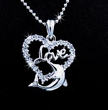 Love Dolphin Heart Shaped Silver Tone Austrian Crystal Pendant Chain Necklace