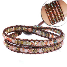 14-16inches Faceted Glass Beads on Brown Leather 2 Wraps Bracelet for men women