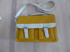 Mustard Yellow and White Leather Satchel Handbag Purse ~ Briefcase Style...CUTE
