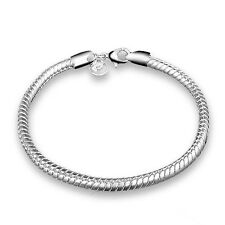 Silver Plated 925 Snake Chain Charm Threader Solid Link Bracelet Bangle. 1632