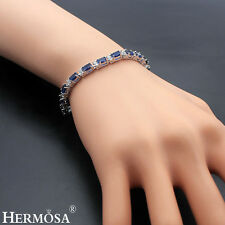 Hermosa 925 Sterling Silver Blue Sapphire & White Topaz Hot Women Bracelets 8""