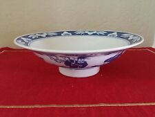 """Vintage Asian Blue and White 8"""" Rice Bowl Signed"""