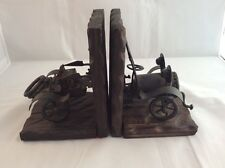 """Vintage Automobile Wood and Metal Handmade Bookends 7"""" Tall"""
