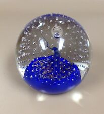 Murano Paperweight Blue and Clear Glass