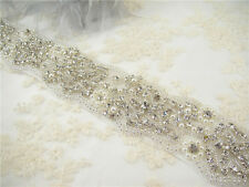 Gorgeous Pearl Diamante Bridal Applique Beaded Motif Rhinestone Wedding Applique