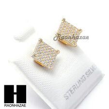 Iced Out Sterling Silver .925 Lab Diamond 8mm Square Screw Back Earring SE034G