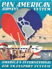FLYING BOAT - Spectacular PAN AMERICAN AIRWAYS ART DECO Luggage Label, 1939 MINT