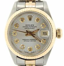 Rolex Datejust Ladies 2Tone 14K Gold Stainless Steel Watch Silver Diamond 6917