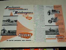 Prospectus Faucheuse NOCOLAS brochure tractor tracteur traktor catalogue