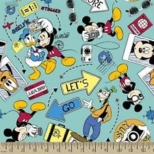 "Mickey Say Cheese Let's Go Explore 100% cotton 43"" Fabric by the yard"