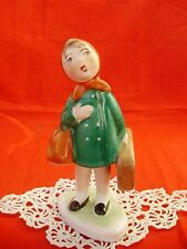 VINTAGE,HUNGARIAN PORCELAIN LITTLE GIRL W.BAGGAGES,HANDPAINTED