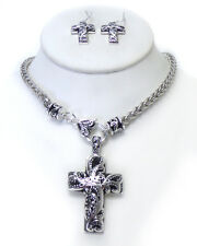 Large Cross Filigree Necklace Earrings Set Jewelry Textured Silver Plate US SELL