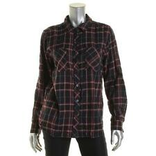 Confess 3504 Womens Blue Flannel Pockets Long Sleeves Blouse L BHFO