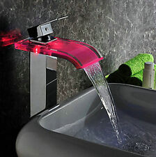 No Need Battery LED Faucet Brass Mixer Tap Chrome Finish Waterfall Faucet  wcy03
