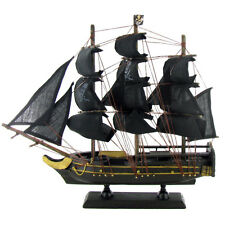 Pirate Ship Tall Model Sailboat Nautical Decor Wood Canvas Sails