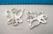 4x STERLING SILVER LASER CUT BUTTERFLY CHANDELIER CONNECTOR SPACER BEAD #1038