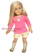 """Summer Ruffle Top + Shorts + Gladiator Shoes for 18"""" American Girl Doll clothes"""