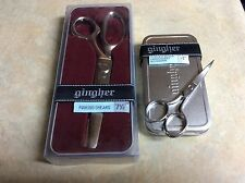"""NEW Gingher Scissors G-7P  7.5"""" Pinking Shears + 4"""" curved embroidery scissors"""