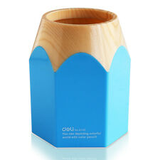 Creative Tidy Office Home Desk Pot Pen Pencil Holder Makeup Brush Container Blue
