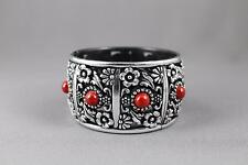 Silver Black Red bracelet textured medallion plastic hinged bangle cuff wide