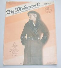 Die Modenwelt Heft 22 / 1931 mit Schnittmusterbogen Modezeitschrift Handarbeit !