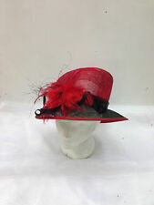 ladies/women Red with black combination hat church wedding ocassions feathers