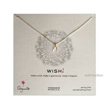 """Dogeared Sterling Silver Wishbone Charm WISH Necklace 18"""" Chain NEW Authentic"""