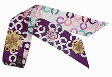 Coach New Jewelry Op Art Print Pony Silk Ponytail Scarf Purple