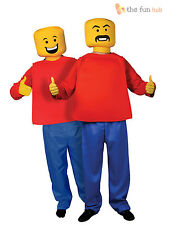 Adult Mr Block Head Man Costume 80s Lego Retro Mascot Fancy Dress Mens Outfit